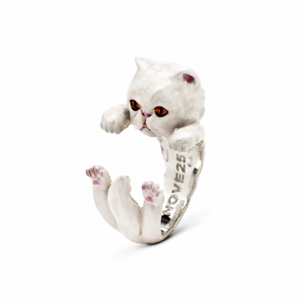Persian White Enamel Hug Ring by Cat Fever - Persian White Enamel Hug Ring