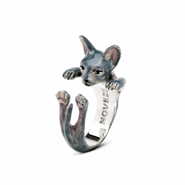 Cat Fever - Sphynx Gray Enamel Hug Ring