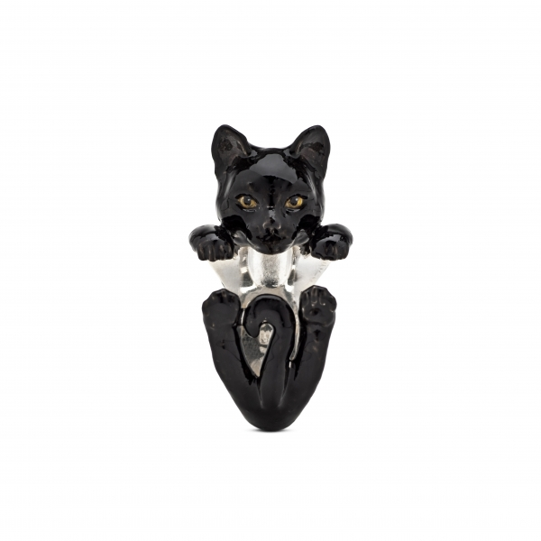 Cat Fever - European Black Enamel Hug Ring - image #2