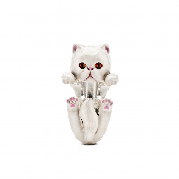 Cat Fever - Persian White Enamel Hug Ring - image #2