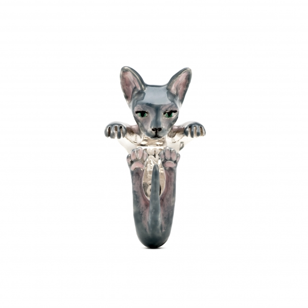 Cat Fever - Sphynx Gray Enamel Hug Ring - image #2