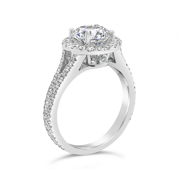 18k White Gold Diamond Engagement Ring side