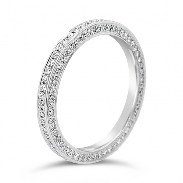 18k White Gold Eternity Diamond Wedding Band side