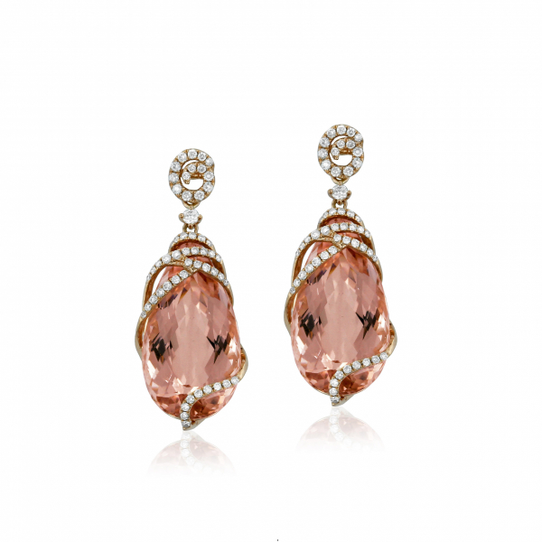 Rose gold morganite and diamond drop earrings