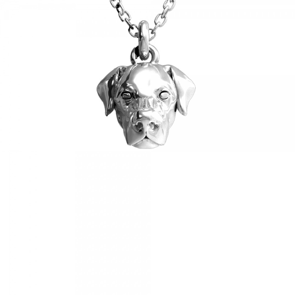 Silver pendant featuring the head of a Labrador Retriever suspended from a chain