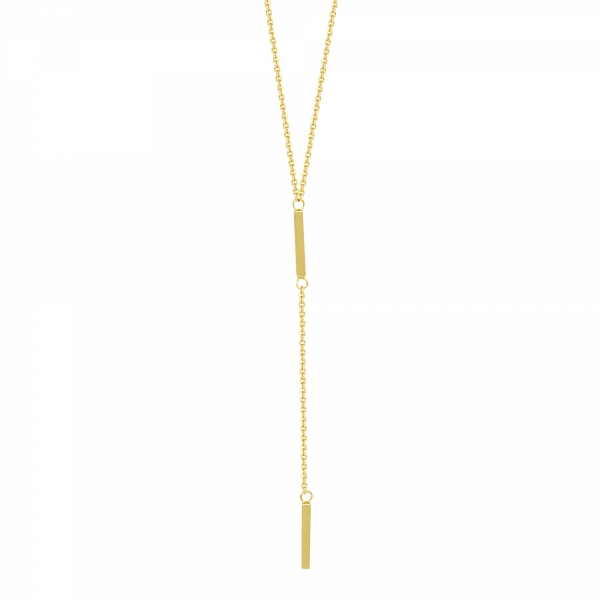 14k Yellow Gold Double Bar Necklace
