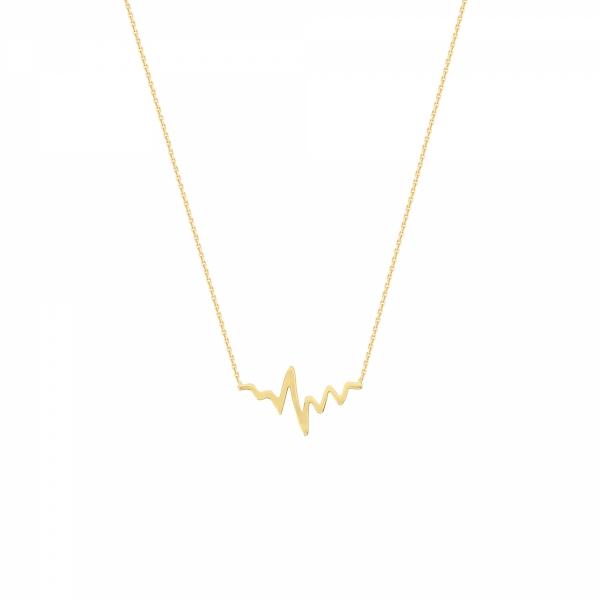 14k Yellow Gold Heartbeat Necklace