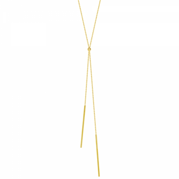 14k Yellow Gold Double Bar Lariat Necklace
