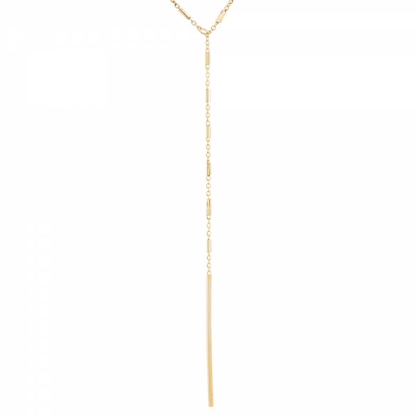 Yellow gold bars lariat necklace