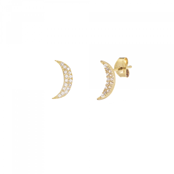 Yellow gold moon-shaped earrings detailed with cubic zirconium