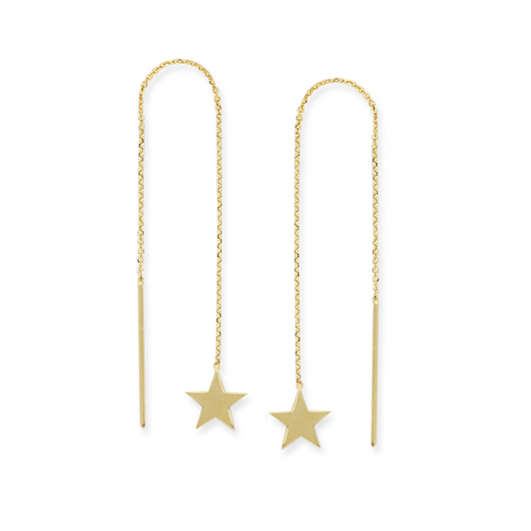 Yellow gold Star threader earrings