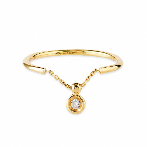 14k Yellow Gold Diamond Bezel Chain Ring