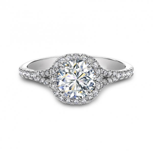 Split shank diamond halo engagement ring - Forevermark Split Shank Halo Engagement Ring