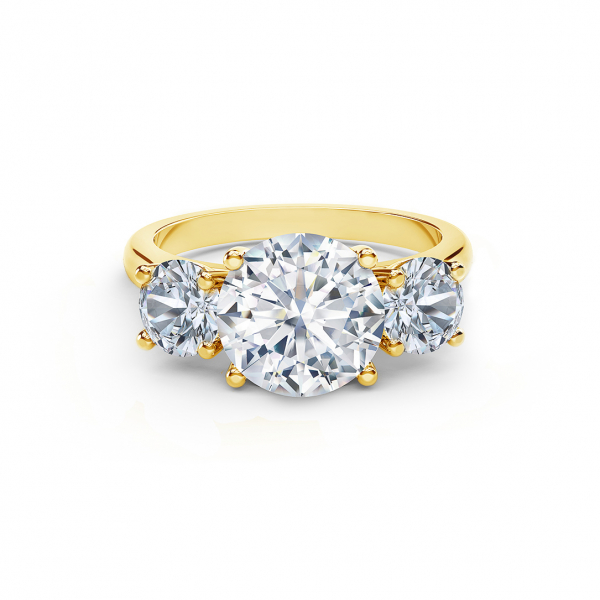 Forevermark three stone yellow gold diamond engagement ring