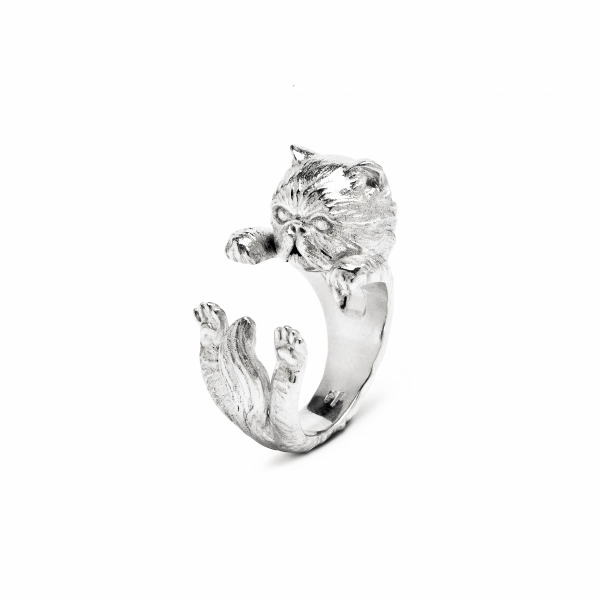 Cat Fever - Persian Silver Hug Ring