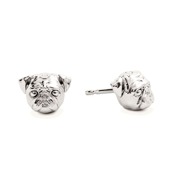 A pair of Pug Silver Stud Earrings