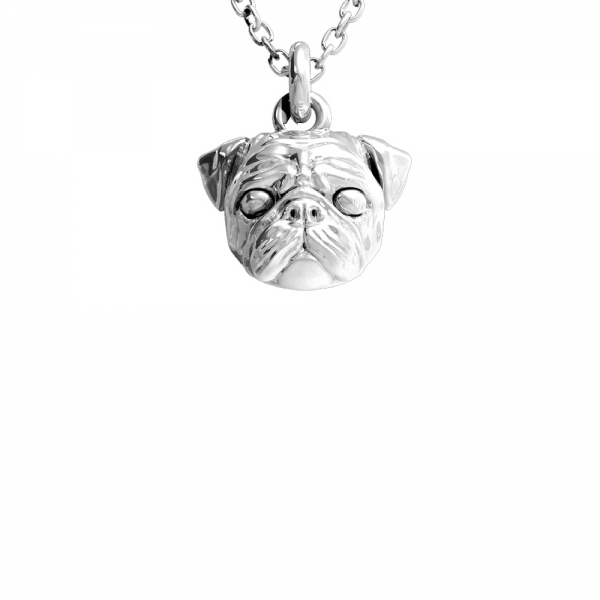 Silver pendant featuring the head of a Pug suspended from a chain