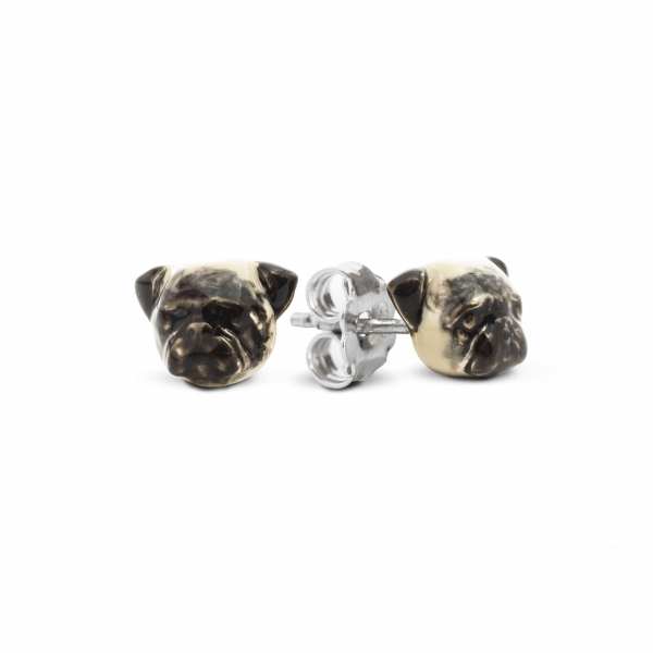 A pair of Pug Enamel Stud Earrings