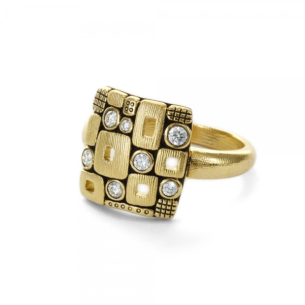 Alex Sepkus 18k Yellow Gold Square Windows Ring