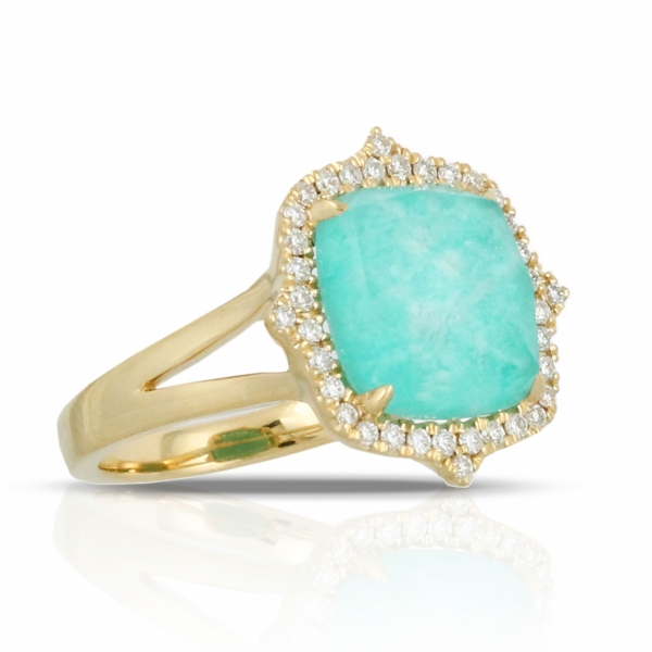 Lady's 18 karat yellow gold fashion ring featuring Amazonite surrounded by a diamond halo
