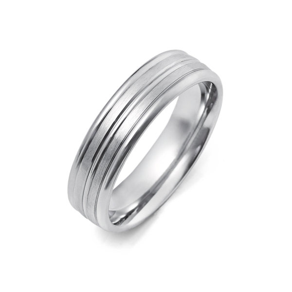 14k White Gold Mens Wedding Band