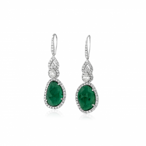 Emerald and diamond drop earrings in white and yellow gold