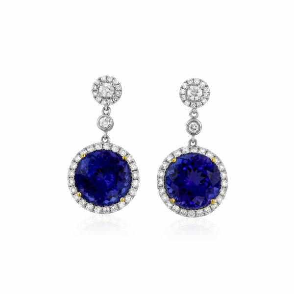 Tanzanite and diamond drop earrings in white and yellow gold