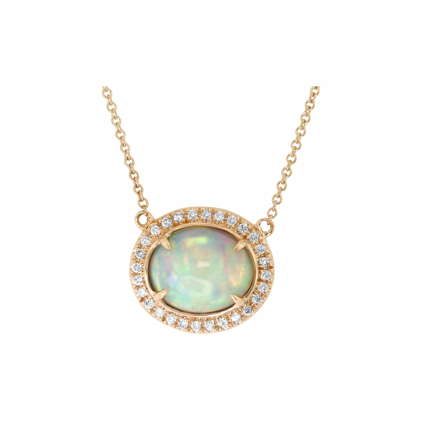 Opal and diamond necklace in 18k rose gold
