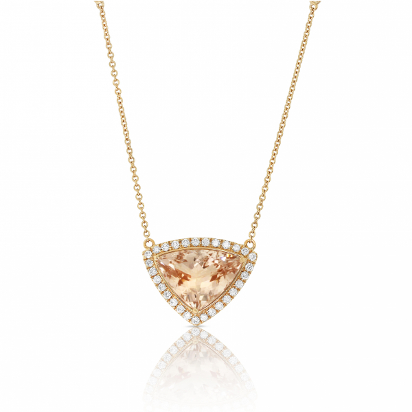 Morganite and diamond necklace in 18k rose gold