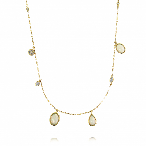 Opal and diamond necklace in 18k yellow gold