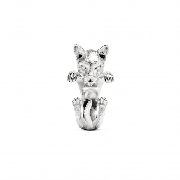 Cat Fever - Siamese Silver Hug Ring - image 2