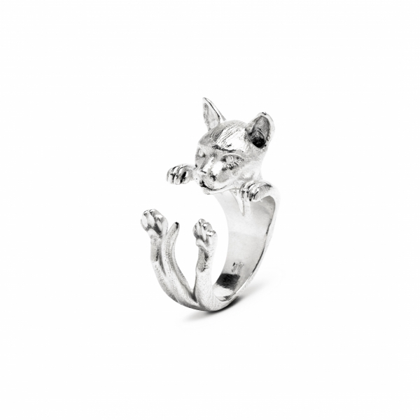 Siamese Silver Hug Ring by Cat Fever - Siamese Silver Hug Ring