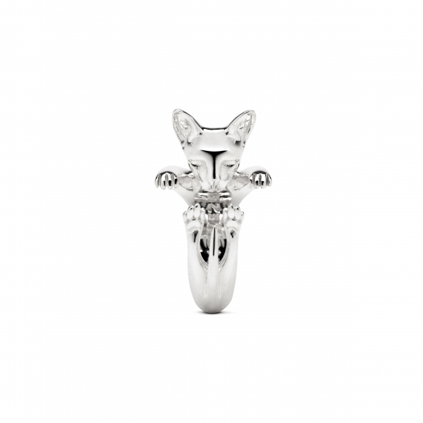 Cat Fever - Sphynx Silver Hug Ring - image 2