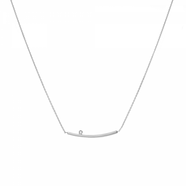 White gold curved bar diamond necklace