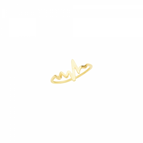 14 karat yellow gold bar Heartbeat ring