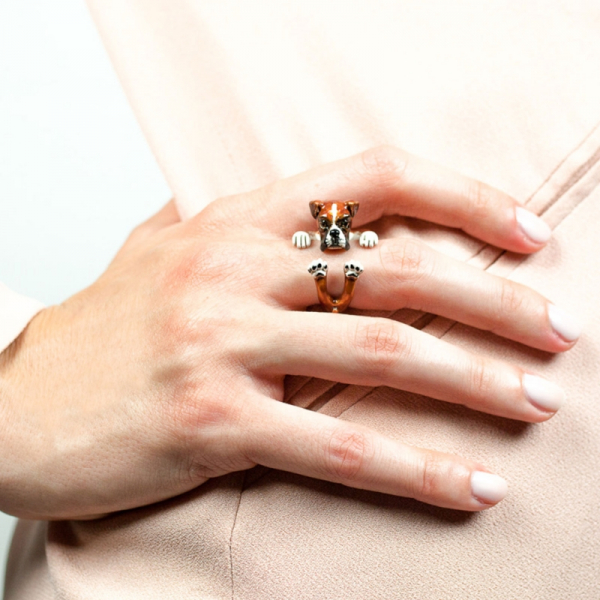 Boxer Enamel Hug Ring On Hand