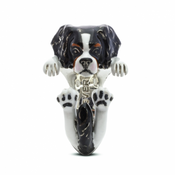 Cavalier King Enamel Hug Ring Front View