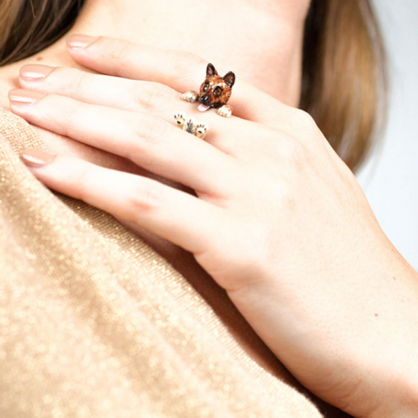 German Shepherd Enamel Hug Ring on Hand