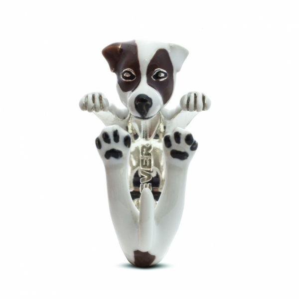 Jack Russell Enamel Hug Ring Front View