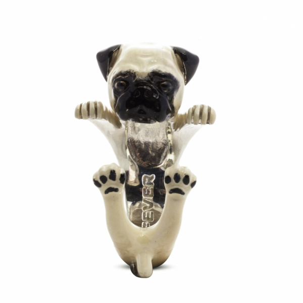 Pug Enamel Hug Ring Front View