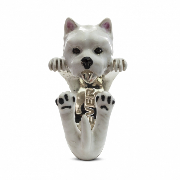 West Highland Terrier Enamel Hug Ring Front View