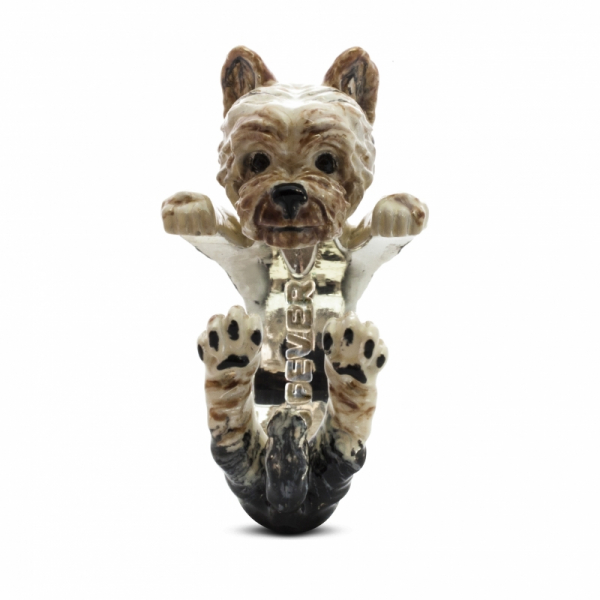 Yorkshire Terrier Enamel Hug Ring Front View