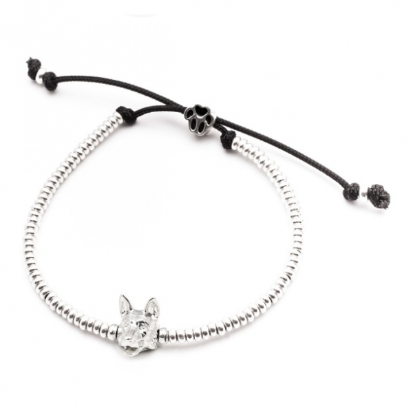German Shepherd Silver Head Bracelet