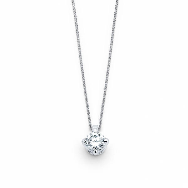 White gold solitaire diamond pendant  necklace