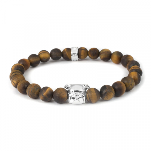 English Bulldog Sterling Tiger's Eye Bead Head Bracelet