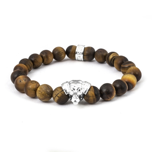 Golden Retriever Sterling Tiger's Eye Bead Head Bracelet