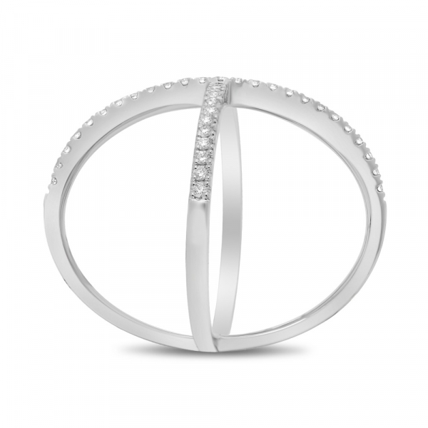 14k White Gold Diamond Pave Criss Cross Ring front
