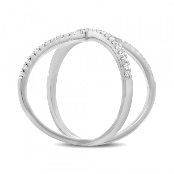 14k White Gold Diamond Pave Criss Cross Ring side