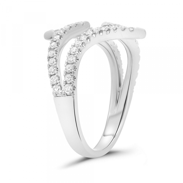 14k White Gold Abstract Diamond Pave Ring side