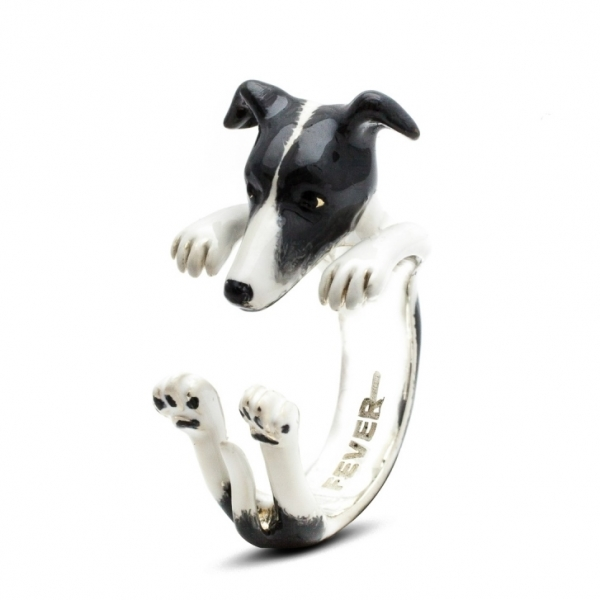 Whippet enamel hug ring by Dog Fever